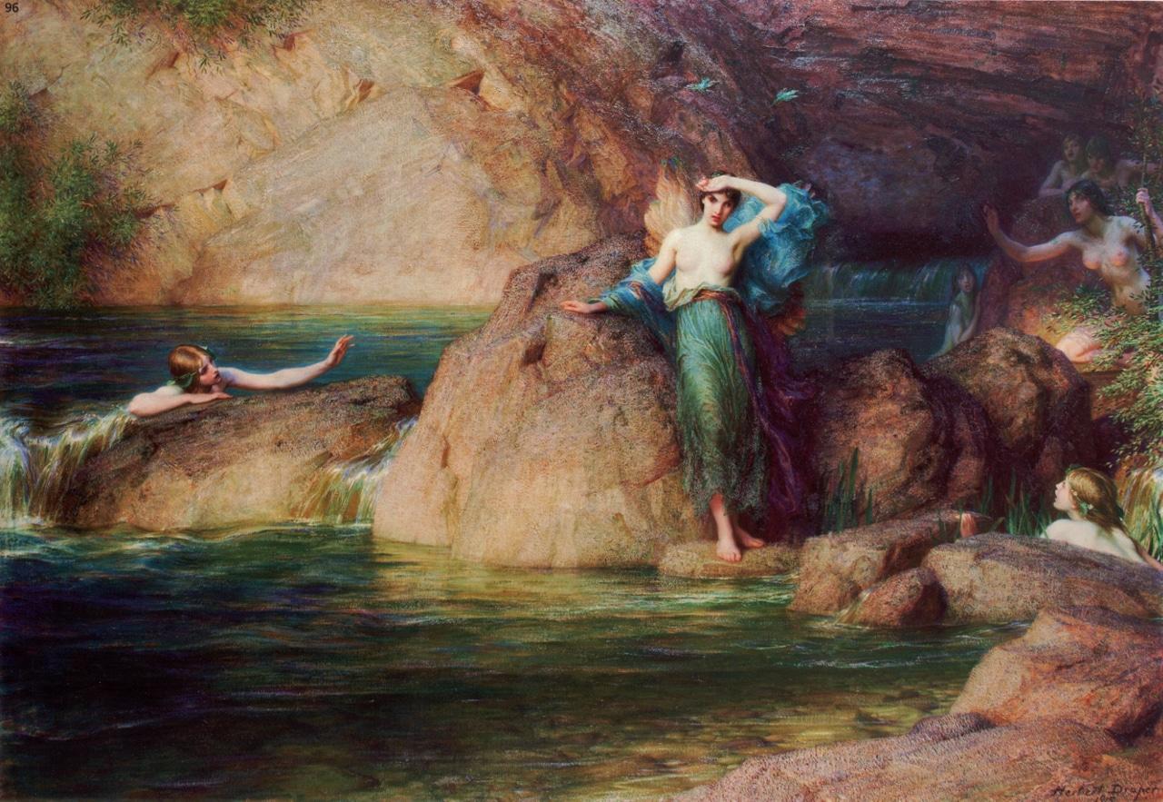 The island Kythera - Alcyone throws herself in sea - H.J. Draper